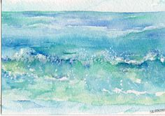 Original Ocean waves watercolor 4 by 6 inches by SharonFosterArt, $14.00