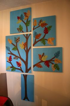 Here's a set of paintings a friend and I made for her daughters room. I drew the tree free hand, we painted the sky and tree and then she cut the leaves from fabric using a stencil of a leaf we made. So much fun!