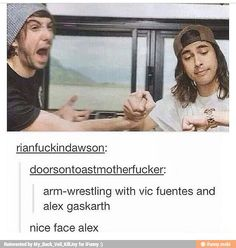 vics just like youre a week little fucker... and alex is like OHMYGOD VIC STAHP THAT HURTSSSS. xD