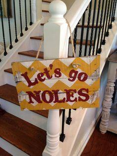 Let's Go Noles pallet sign door hanger Florida State by NCRDesign, $35.00