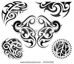 Maori tattoo set - stock vector