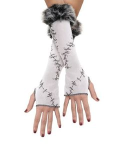 ... Glovettes White Black Gloves Goth Gothic Fairy | Winter Fairy Costume