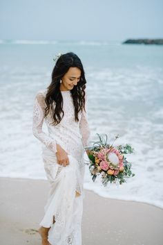 Browse Beach Bridal Dress Inspiration for Summer Weddings | Backless Silk Gown with Long Sheer Sleeve by @graceloveslace