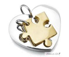 Partnerketten Puzzle gold mit Herz silber Edelstahl inkl....