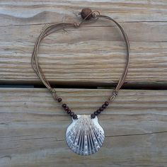 Brown Scallop Seashell Necklace on brown cotton string by RumCay