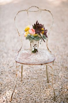 shabby chic- antique chair as a pot holder? I think this would be cute on a front porch