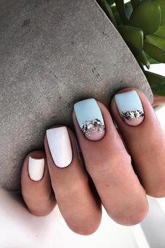 Ideas Wedding Nails White Blue For 2019 Blue Nails, White Nails, Pinterest Nail Ideas, Foil Nails, Foil Nail Art, Pretty Nail Art, Dream Nails, Stylish Nails, Nail Polish Colors