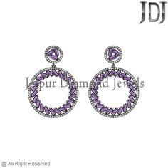 Pave Diamond 925 Sterling Silver 48ct Amethyst Baguettes Setting Dangle Earrings #earrings #gemstone #baguettes #diamondjewelry #pavediamond #beautiful #fashion #handmade #dropdangle #flower