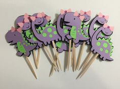 Items similar to Girl T-Rex & Brontosaurus Dinosaur - Cupcake Toppers - Set of 12 - Lime Green and Purple on Etsy - Elisa Gold First Birthday, Third Birthday, 4th Birthday Parties, Birthday Ideas, Girl Dinosaur Birthday, Dinosaur Party, Dinosaur Dinosaur, Dinosaur Cupcake Toppers, Baby Shower Invites For Girl