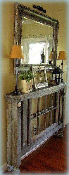 DIY Entry Table when you don't have a lot of room- make out of new deck posts- plus other cute ideas)