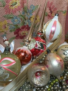Wonderful vintage Mercury glass ornaments and tree toppers in shades of pink...my latest finds...