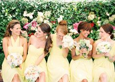 bridesmaids in pale yellow
