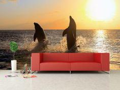 #delfiny #dolphins #sunset #sea #ocean #fototapeta #dekoracje #wnetrza #sciany #idea Delfiny na tle zachodzącego słońca wyglądają fantastycznie, prawda?  http://www.dekorujemysciany.pl/delfiny-na-tle-zachodzacego-slonca-15.html