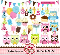 Sweet Birthday OWL digital clipart set for -Personal and Commercial Use-paper crafts,card making,scrapbooking,web design