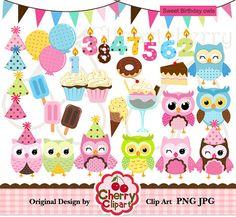 Sweet Birthday OWL digital clipart set for por Cherryclipart