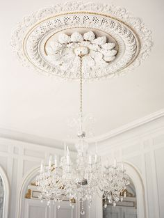 le chandelier * {magnolia rouge -- French Chateau wedding by Erich McVey} Aesthetic Light, Ceiling Rose, White Ceiling, White Walls, Ceiling Design, Ceiling Detail, Ceiling Decor, Ceiling Fans, Chandelier Lighting