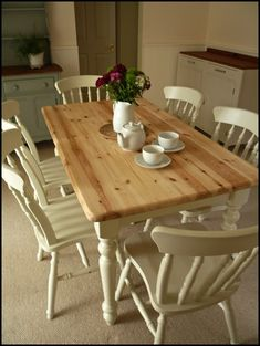 Beautiful Vintage Painted Shabby Chic Pine Table and Chairs F&B