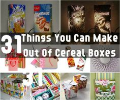 31 Creative Cereal Boxes Crafts http://www.buzzfeed.com/pippa/cereal-box-diys-5ocb