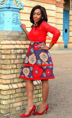 Red African Print Ankara Lace Dress with long Sleeves