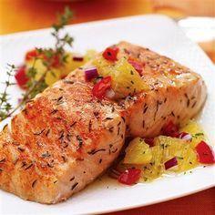 Citrus Salmon with Orange Relish recipe  • Low Calorie  • Low Sodium  • Spices For Health