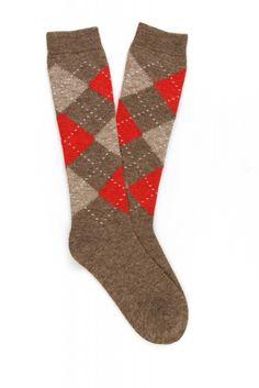 E128 - Women Pattern Diamond Knee High Wool Sock - Pedemeia