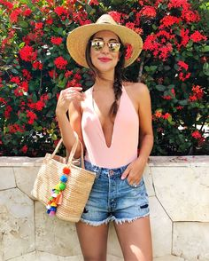 blush one piece swimsuit with plunging neckline | my style |