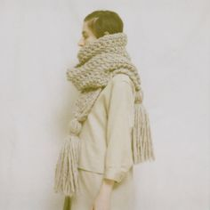 Giant scarf, muted tones