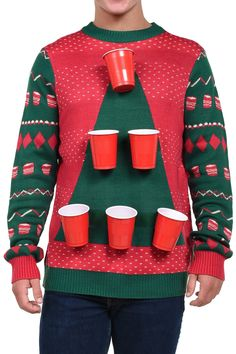 12 Hilarious Christmas Party Games to Try this Season! We are sharing 12 Hilarious Christmas Party Game Ideas for our first day of this years 12 Days of Christmas Ideas series. Mens Ugly Christmas Sweater, Funny Christmas Sweaters, Tacky Christmas, Christmas Humor, Xmas Sweaters, Christmas Ideas, Holiday Ideas, Christmas Eve, Christmas Clothes