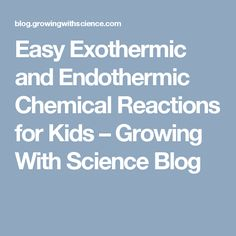Easy Exothermic and Endothermic Chemical Reactions for Kids  – Growing With Science Blog