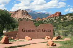 Garden of the Gods is a remarkable and beautiful red rock public park located just minutes from downtown Colorado Springs, Colorado. One of the most a. Hiking Trail Maps, Hiking Trails, Affordable Family Vacations, Spring Usa, Moving To Denver, Roman, Red Rock Amphitheatre, Entrance Sign, Us Destinations