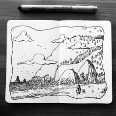 I hope you'll enjoy my thoughts & sketches. Sketchbook Drawings, Doodle Drawings, Art Sketches, Sketching, Doddle Art, Mountain Sketch, Copic Marker Art, Doodle Art Designs, Daily Drawing
