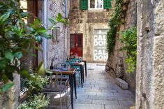 There are dozens of cafés and restaurants in the Old Town of Split, Croatia. Take your pick!   heneedsfood.com