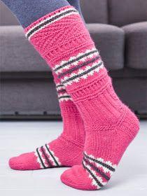 Hilppa: Hilma - inspiraationa perinne Crochet Socks, Knitting Socks, Knit Crochet, Knit Socks, Knit Wrap, Striped Socks, Fair Isle Knitting, Knee High Socks, Warm And Cozy