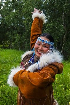Traditionally dressed Koryak woman, the native people of Kamchatka, Esso, Russia, Eurasia