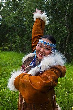 Traditionally dressed Koryak woman, the native people of Kamchatka, Esso, Russia, Eurasia