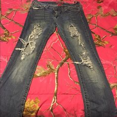 Ripped Red Rivet Jeans! Size 13 ripped/holes. Skinny. One belt loop is ripped Red Rivet  Jeans Skinny