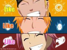 Naruto, Bleach, and Fairytale