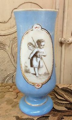 ANTIQUE FRENCH BLUE OPALINE GLASS VASE WINGED CHILD IN MEDALLION...
