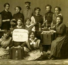 The First World War saw large numbers of women recruited all over Europe to help the war effort on the home front. In Germany this sat uneasily with policies intended to support the family, but demand for munitions grew rapidly.    The original caption says that the munitions are made with 'heart and hand for the Fatherland'. Close examination of the picture suggests that the items being manufactured are bombs (Minen) for the 7.6 cm light mortar (Lichteminenwerfer), a weapon used by most…