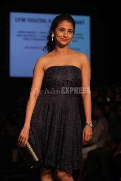 Actress Urmila Matondkar, who had walked the ramp for designer Manish Malhotra on the eve of Lakme Fashion Week Winter/Festive 2013, look stunning in a black lace LBD. #Bollywood #Style #Fashion #LFW