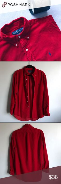 Ralph Lauren Red Velvety Shirt Ribbed Material Perfect preloved condition 👍🏼 no flaws. Men's size M. Supper soft fabric. It's on the thicker side. Could be worn as a casual button down or worn up for a dressy occasion. Feel free to ask any questions 😊 offers are welcome Ralph Lauren Shirts Casual Button Down Shirts