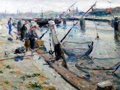 Evert Moll (1878-1955). Evert Moll (1878-1955) Vissers in haven Scheveningen.