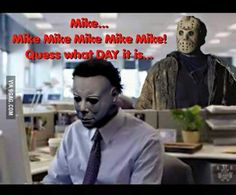 Michael Myers/Jason friday the 13 pic Halloween Movies, Scary Movies, Horror Movies, Halloween Humor, Halloween 2019, Halloween Stuff, Halloween Crafts, Movie Memes, Funny Memes