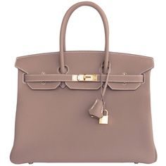 Pre-Owned Hermes Etoupe 35cm Togo Birkin Taupe Gold Hardware X Stamp ($21,750) ❤ liked on Polyvore featuring bags, handbags, etoupe, kiss-lock handbags, locking purse, multi colored handbags, taupe purse and taupe handbag