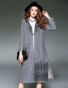 Gray D. FANNI Design V-Neck Long Sleeve Embroidery Side #SlitWoolen Coats & Jackets dresslink.com#Coupons #Holidays #Newyear
