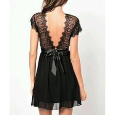 Casual Backless Sleeveless V-Neck Black Color Lace Splice Women's Dress