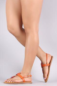 b5978be61e Bamboo Multi-Colored Beaded T-Strap Thong Flat Sandal