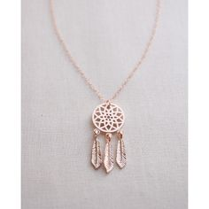 Dreamcatcher Necklace ($28) ❤ liked on Polyvore featuring jewelry, necklaces, rose gold charms, long necklace, red gold jewelry, long charm necklace and charm necklace
