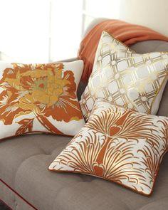 Antonio Aguilar Home Gold & Orange Pillow Collection - Neiman Marcus