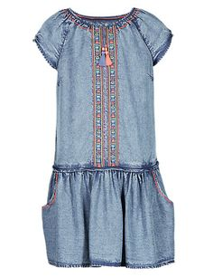 Embroidered Tencel® Drop Waist Dress Clothing